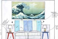 Progetto testiera del letto Camera Mare
