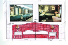 Progetto di interior design per la camera Orient Express